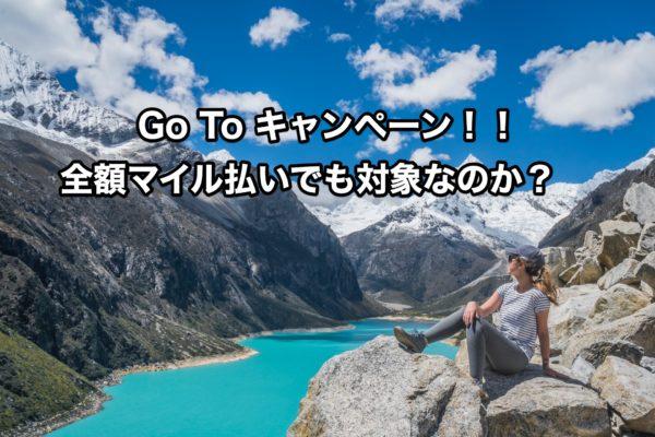 【Go To キャンペーン】全額マイル払いでも還付あり?結論は未定!